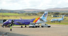Picture by SANDY McCOOK   21st October '16  File Pics.  Stornoway Airport, Stornoway, Isle of Lewis.  Nato, Flybe, terminal building, HIAL, Highlands and Islands Airports.  Baggage handlers.