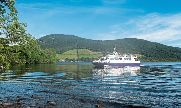 Jacobite Warrior setting sail on Loch Ness in August 2019