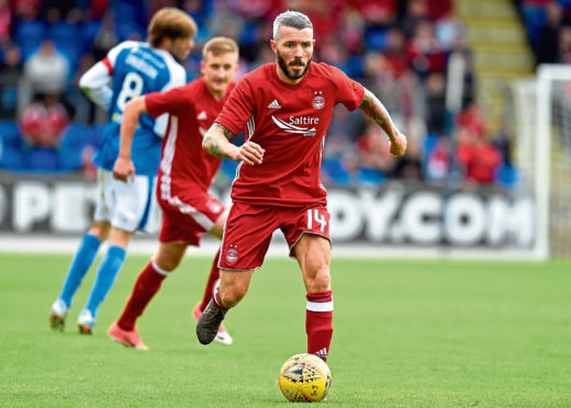 Kevin McNaughton appears as a trialist for Aberdeen while training with the club in 2017.