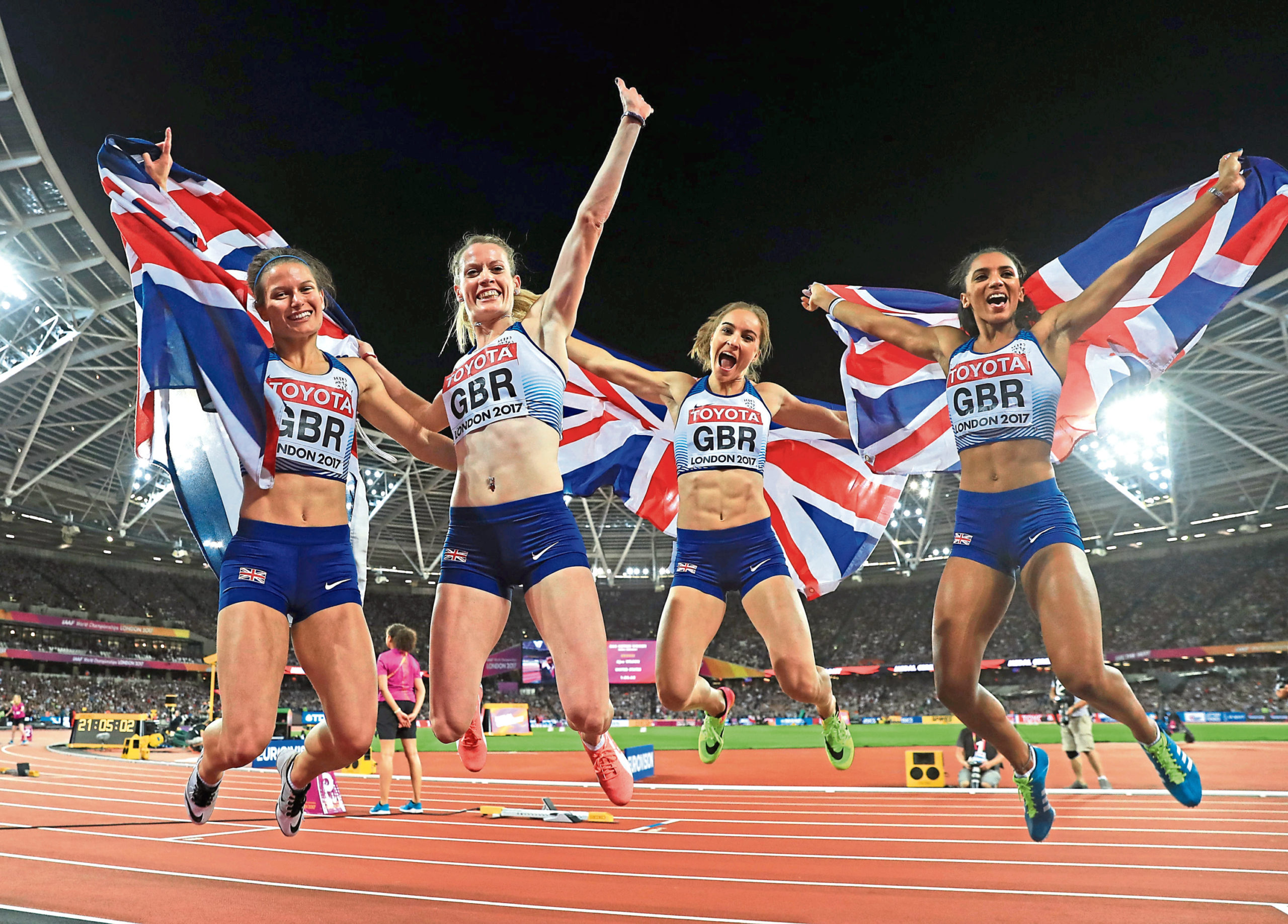 Great Britain's 4 x 400m relay final team (left to right) Zoey Clark, Eilidh Doyle, Emily Diamond and Laviai Nielsen celebrate winning silver during day ten of the 2017 IAAF World Championships at the London Stadium.