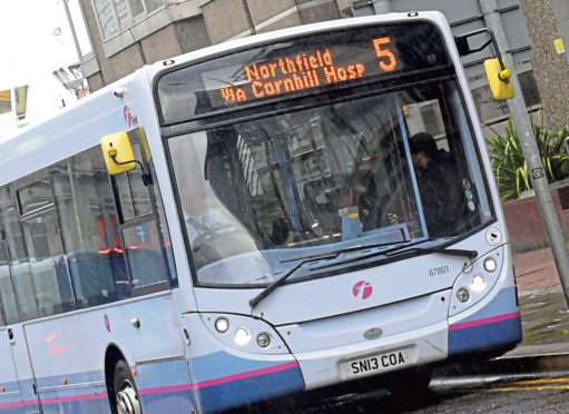First Bus route 5, bus pictured on Guild Street. Picture by Kath Flannery.