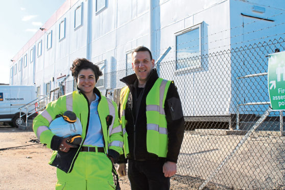 L-R: ACCIONA civil engineer, Maria Sasso, with Greenwell director, Scott Brown.