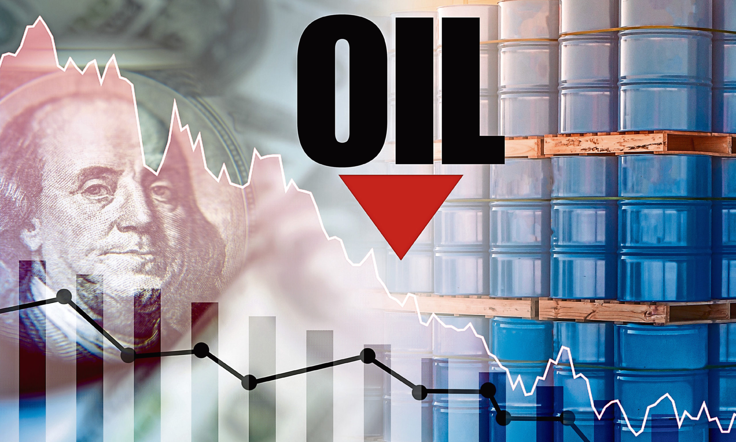 Falling oil prices. Charts show a steady decline. Oil logo on the background of blue barrels. Ñoncept is a decline in oil export earnings. Crude petroleum cost reduction. Dollar. Hydrocarbon industry; Shutterstock ID 1670405992; Purchase Order: -