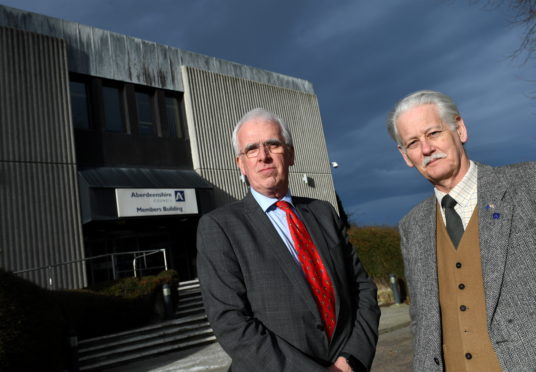 Aberdeenshire Council Leader Jim Gifford (left) and Deputy Leader Peter Argyll in March 2020, prior to lockdown.