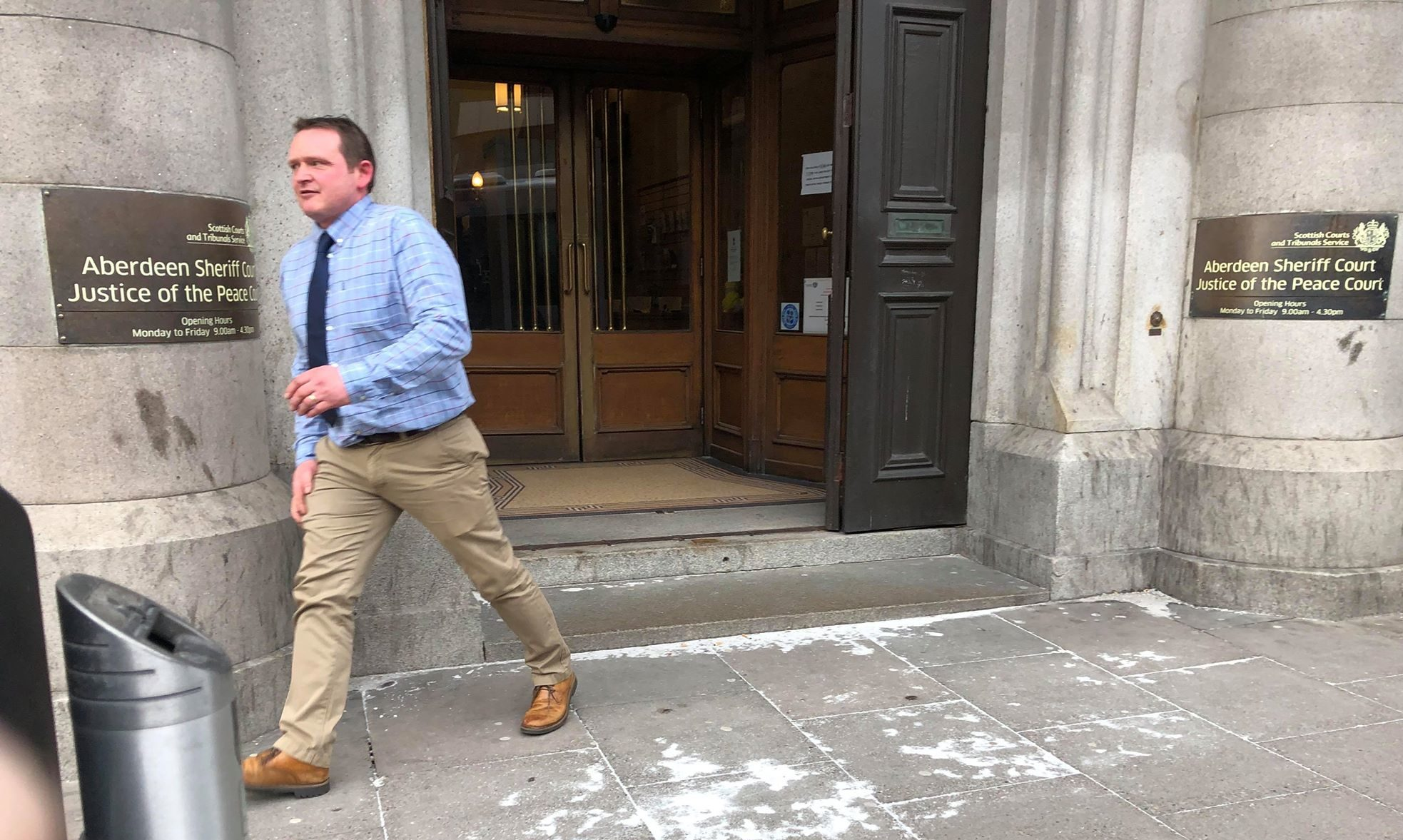 Mark Thomson leaving Aberdeen Sheriff Court yesterday.