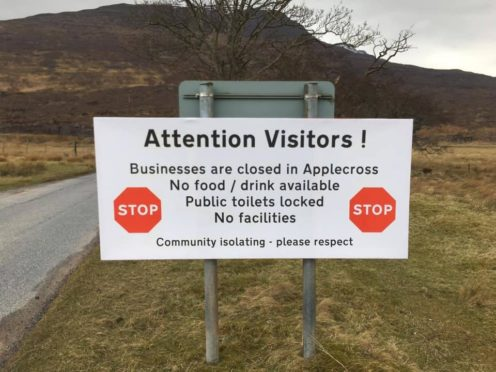 The sign showing Applecross is isolating due to Coronavirus fears.