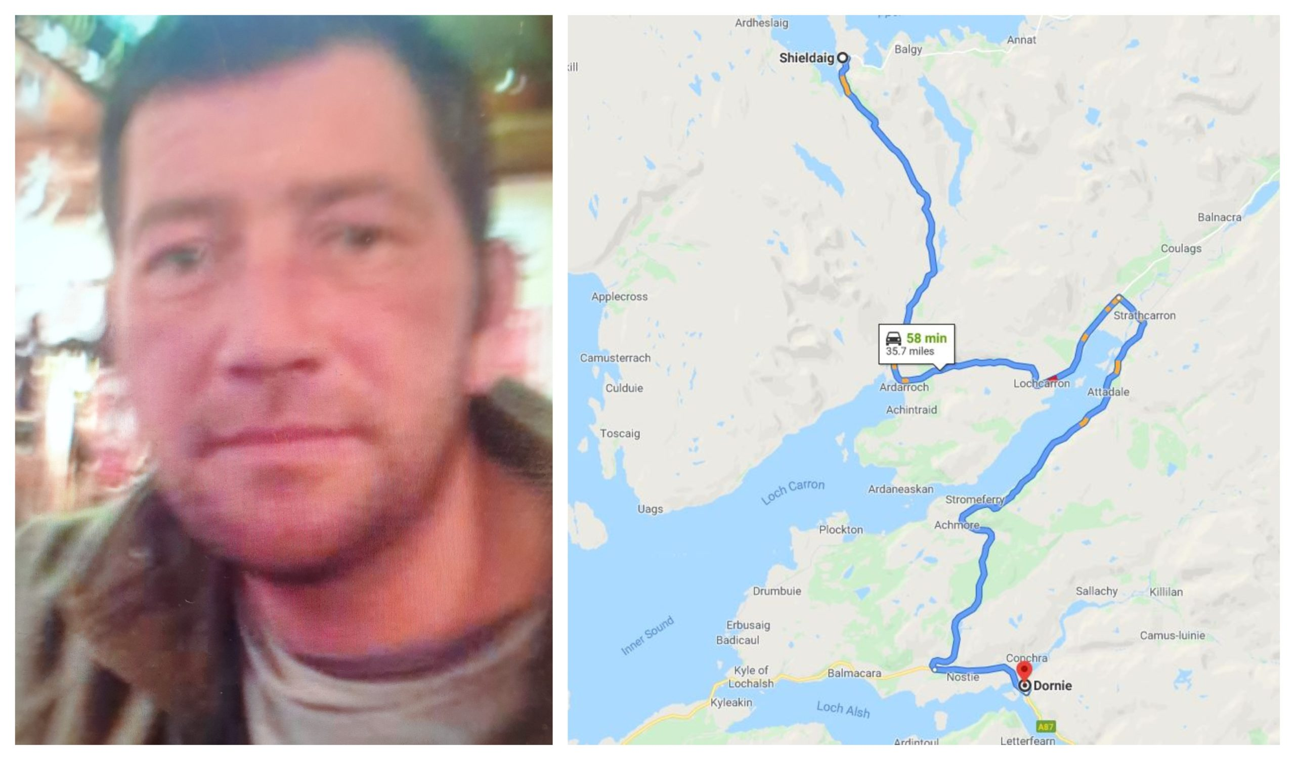 Peter Munro is thought to have hitch hiked from Dornie to Shieldaig.