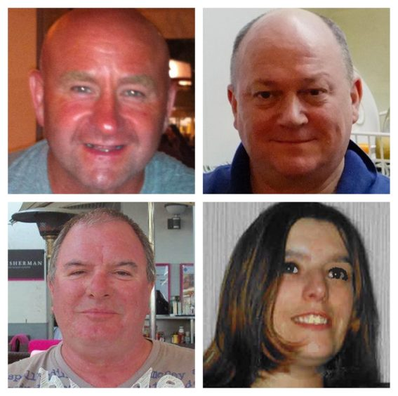 Clockwise from top left: Duncan Munro, 46, from Bishop Auckland, George Allison, 57, from Winchester, Sarah Darnley, 45, from Elgin, Gary McCrossan, 59, from Inverness all died in the tragedy.