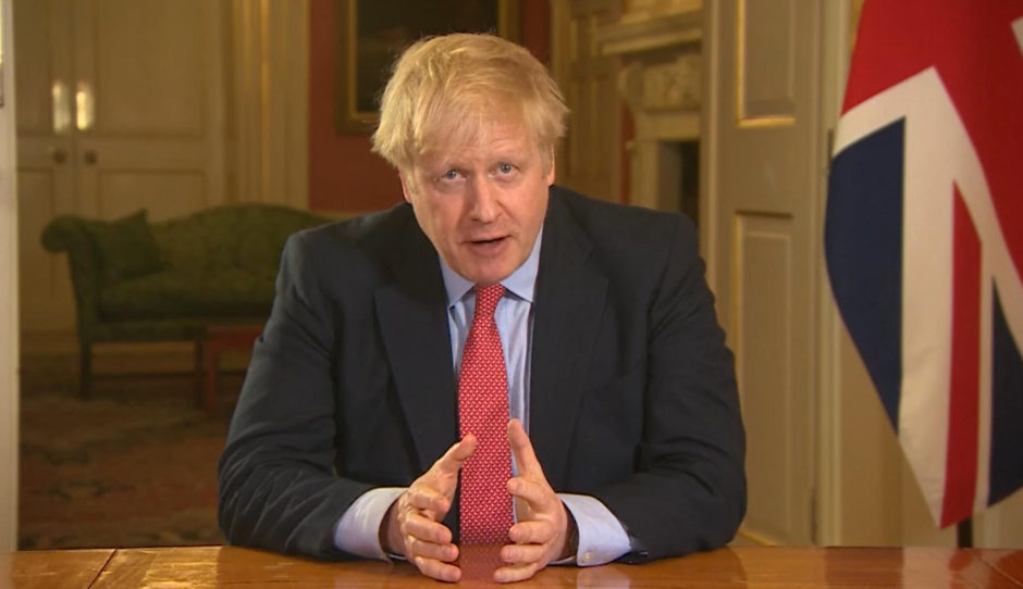 Prime Minister Boris Johnson delivering his address to the nation.