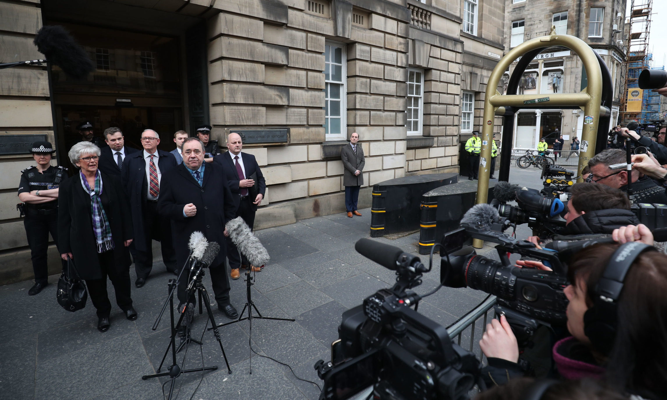 Alex Salmond (left) speaks to the media as he leaves the High Court in Edinburgh after he was cleared of attempted rape and a series of sexual assaults