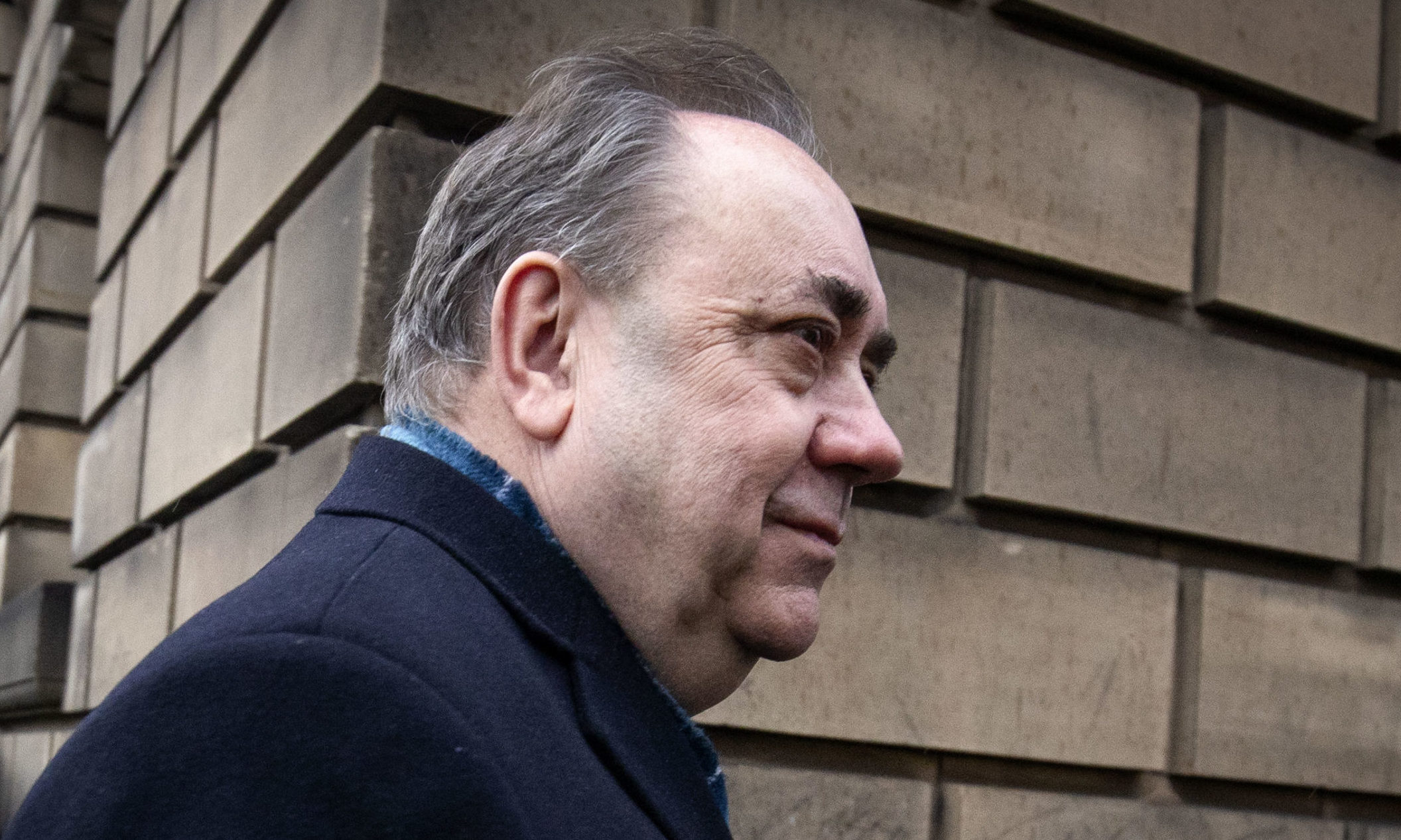 Former Scottish first minister Alex Salmond leaving the High Court in Edinburgh, on the first day of his trial over accusations of sexual assault, including one of attempted rape.
