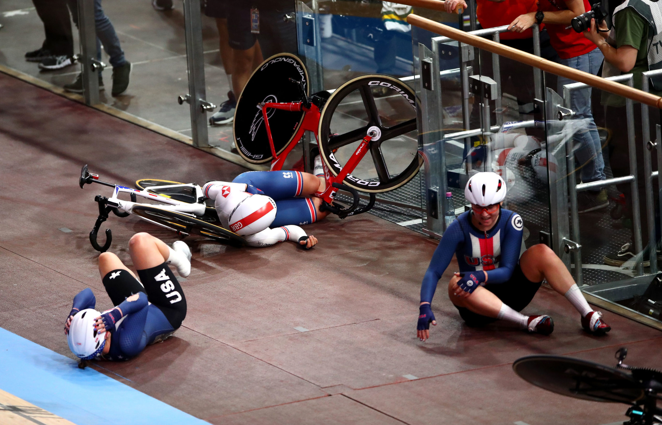 Great Britain's Neah Evans crashes during the women's madison during day four of the 2020 UCI Track Cycling World Championships at Velodrom, Berlin.