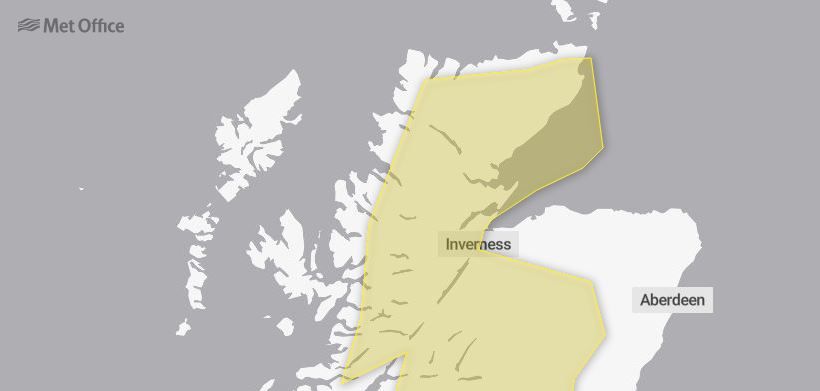 The Met Office have issued a yellow weather warning across the Highlands and parts of Moray.