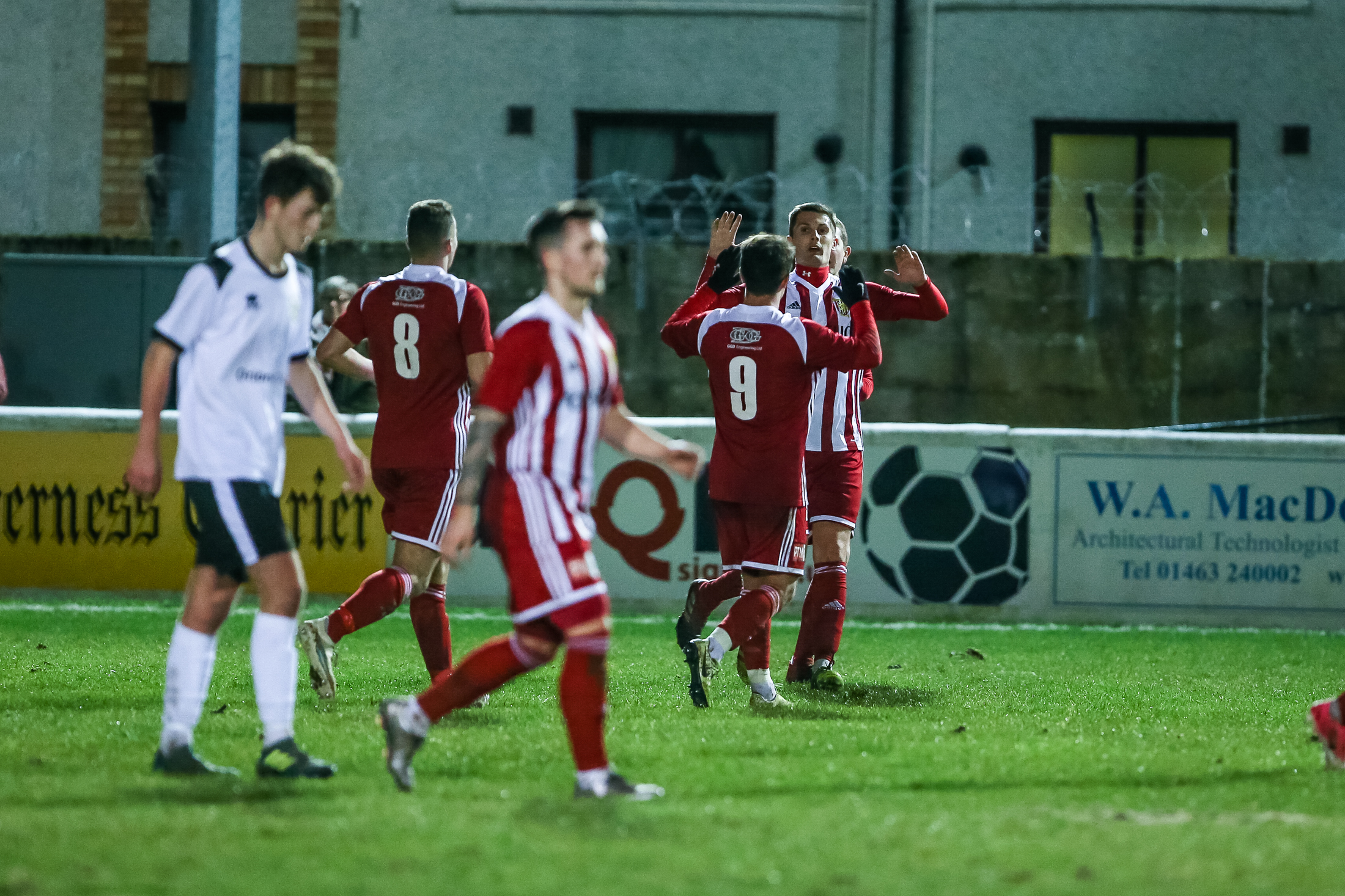 Formartine's Connor Gethins is congratulated as he puts his side 1-0 up.