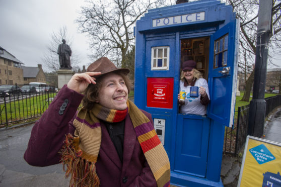 National, leading social care charity Cornerstone turns 40!  Pictured  Paul Laing as Dr Who Tom Baker with Hazel Brown chief executive of Cornerstone.