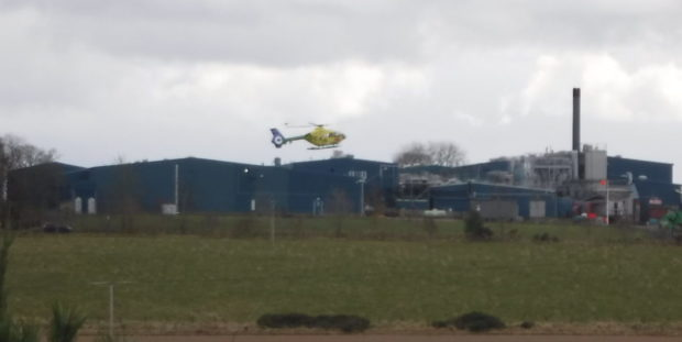 Picture of the air ambulance leaving the abbatoir in Turriff - picture by MyTurriff