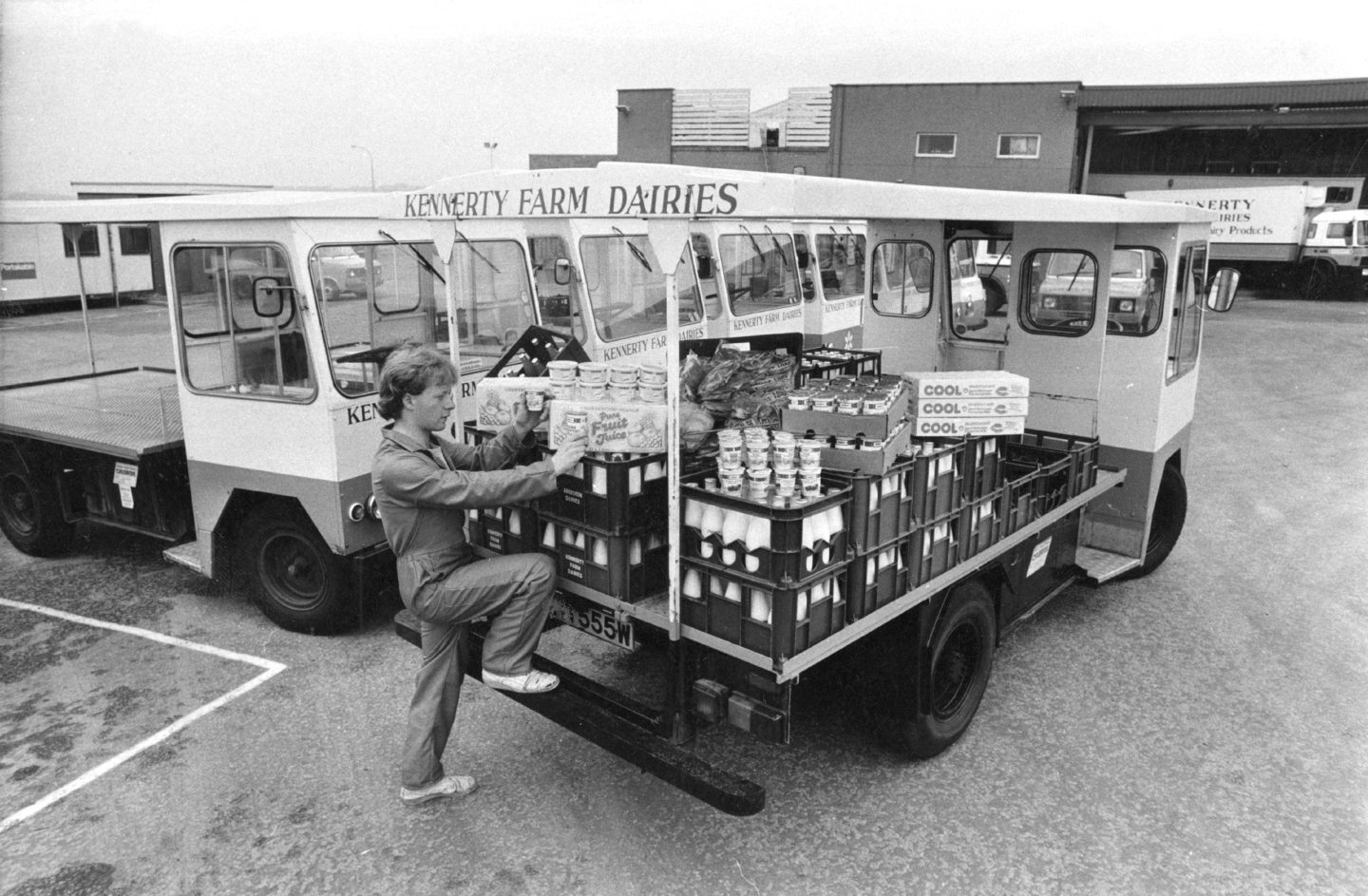 Kennerty Farm Dairies delivering milk in 1983.