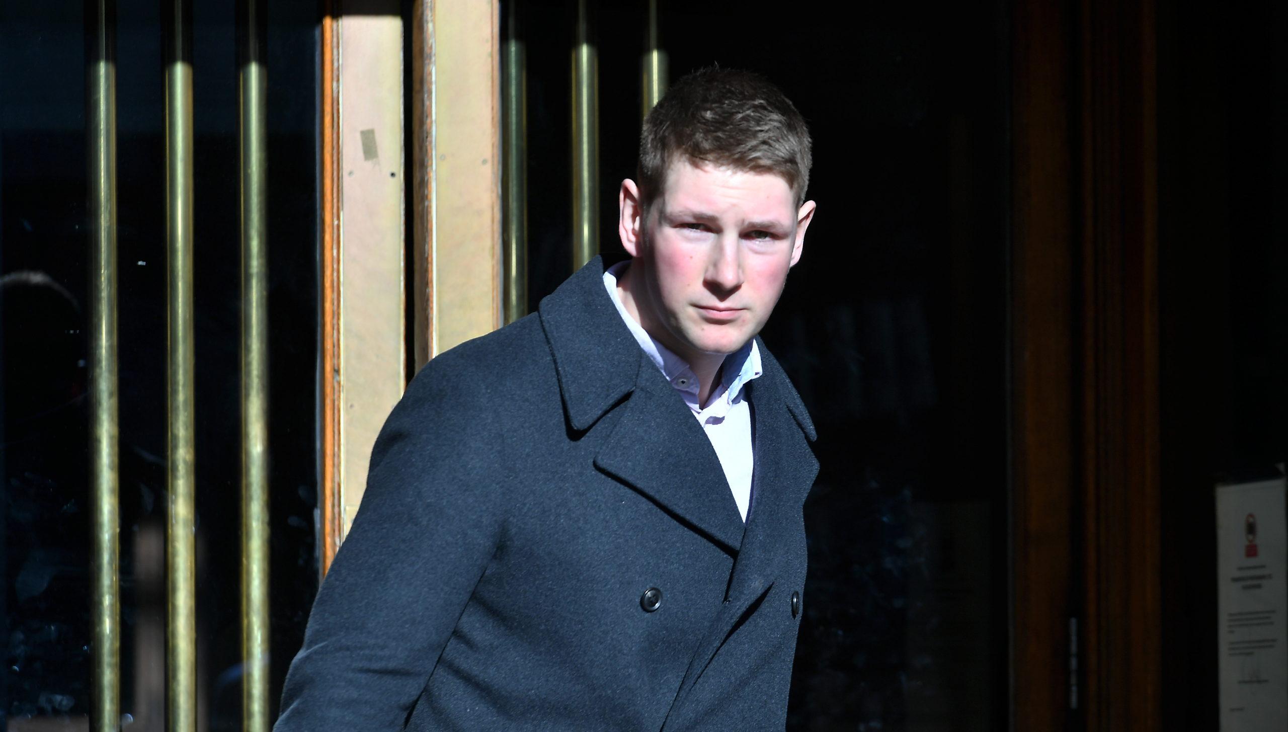 Nicholas Gunn leaving Aberdeen Sheriff court.
