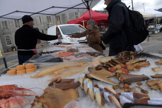 Inverurie Farmers Market, Market Square, Inverurie. 09/02/19 Picture by KATH FLANNERY