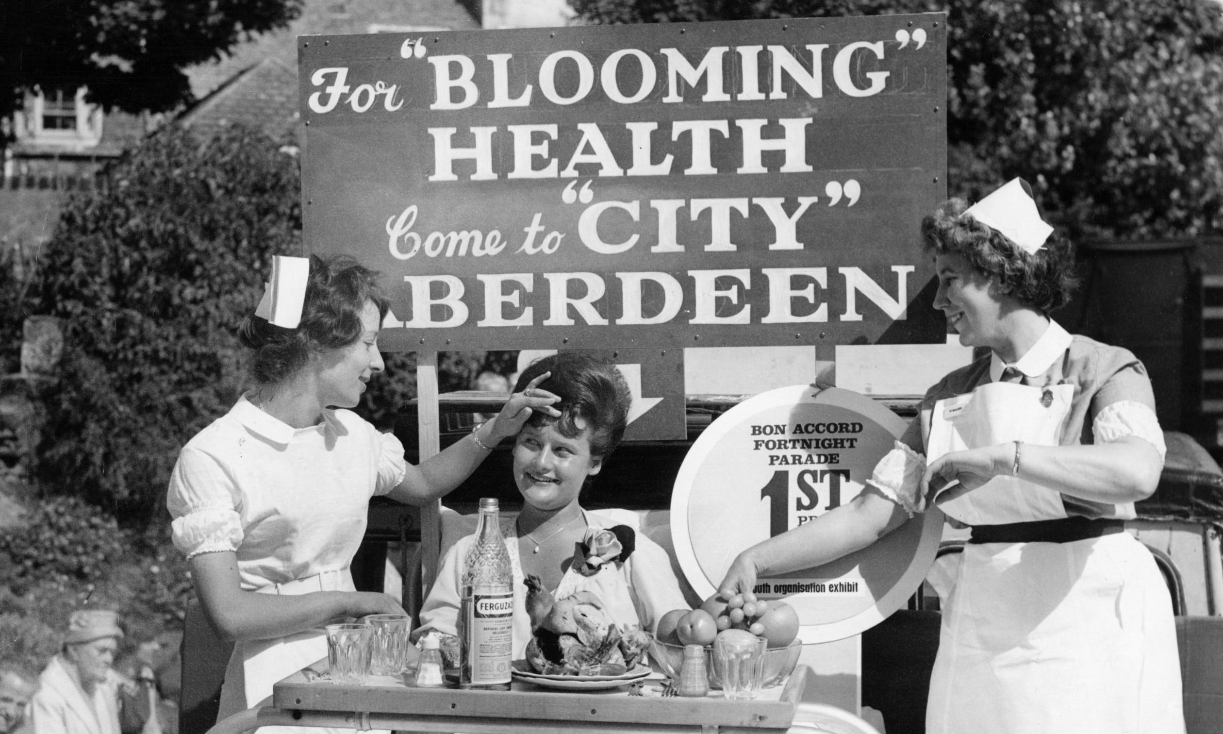 Nurses from City Hospital won the festival's first Bon Accord Fortnight parade, referencing both the typhoid outbreak and the city's Britain in Bloom successes.