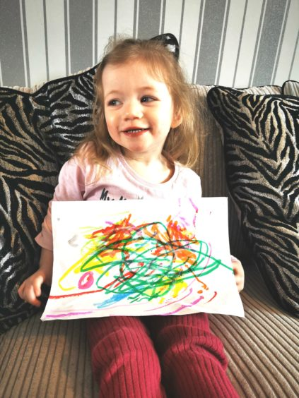 The artist: Aria Dean age 2 from Forres