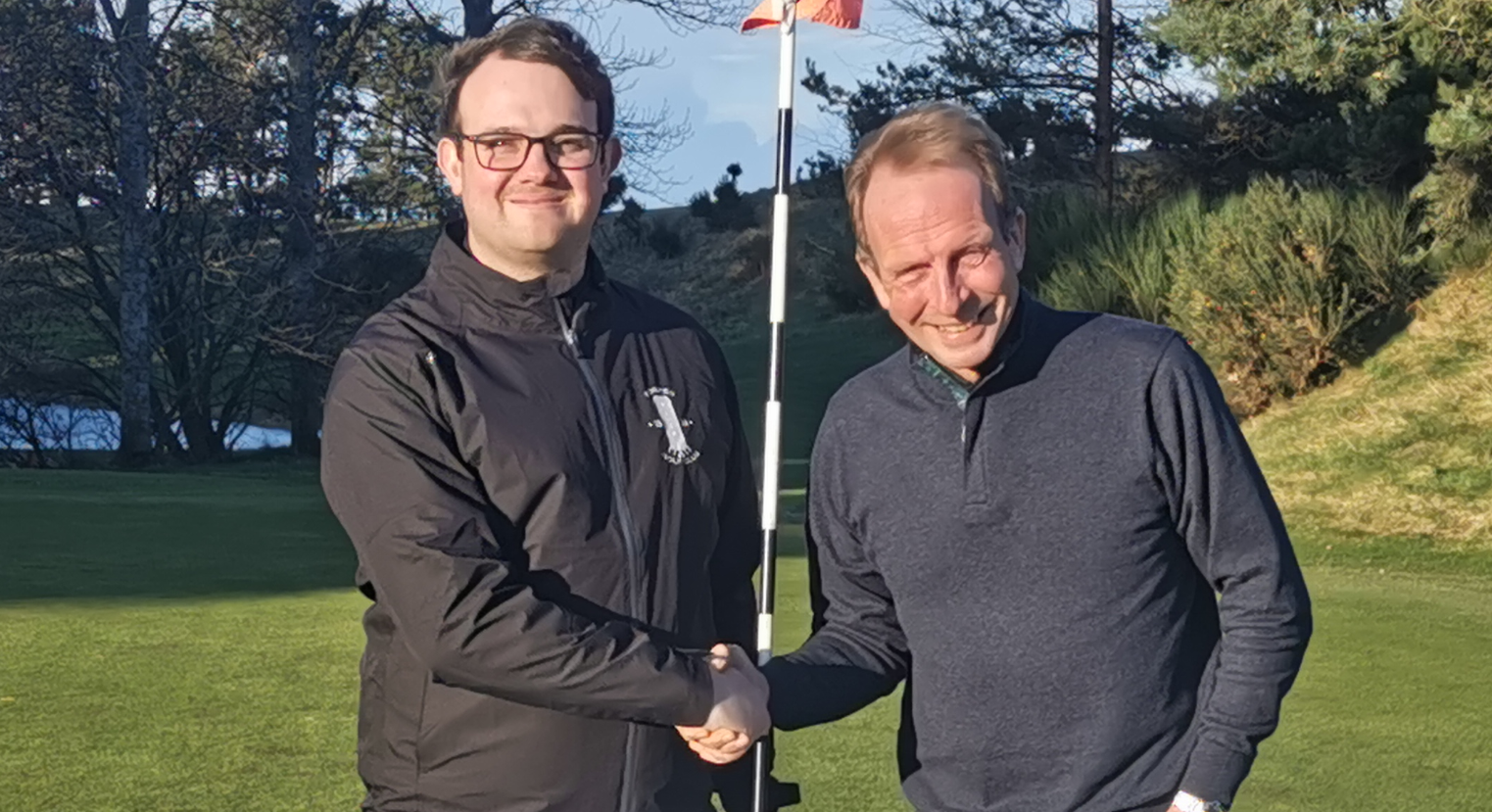 Sean Blacklaw, manager Forres Golf Club, pictured left, with teaching professional David Torrance.