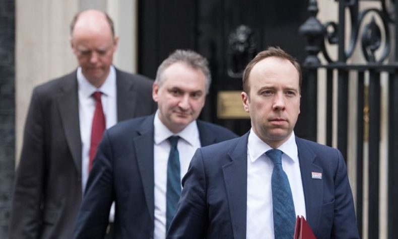 Health Secretary Matt Hancock (right), and Chief Medical Officer Chris Whitty (left) leaving the Cabinet Office in London, after a meeting of the Government's emergency committee Cobra to discuss coronavirus.