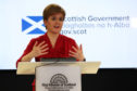 Scotland's First Minister Nicola Sturgeon speaking during a briefing on coronavirus in Edinburgh.