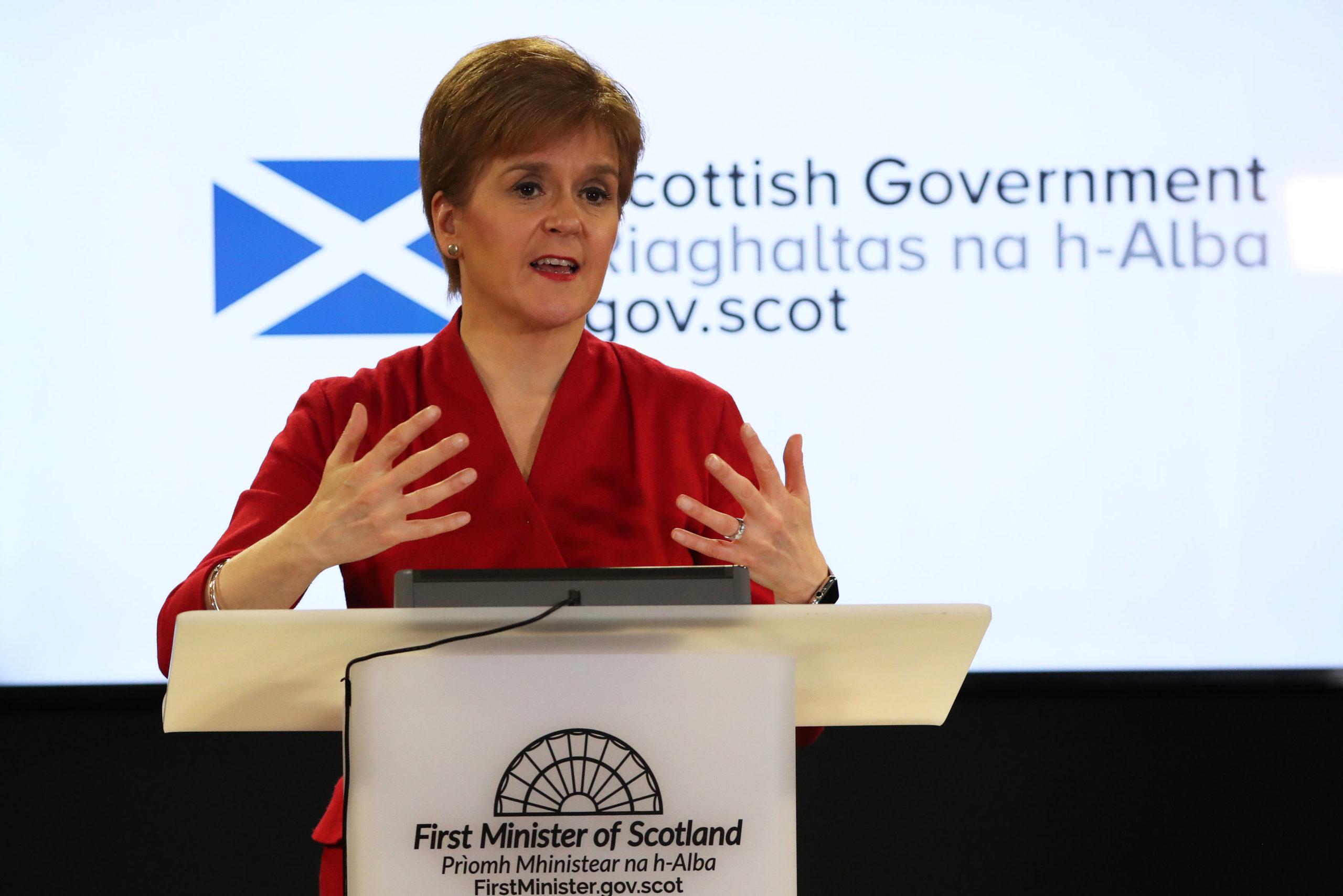 Scotland's First Minister Nicola Sturgeon speaking during a briefing on coronavirus in Edinburgh.