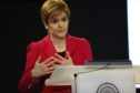 Scotland's First Minister Nicola Sturgeon speaking at a news conference in Edinburgh.