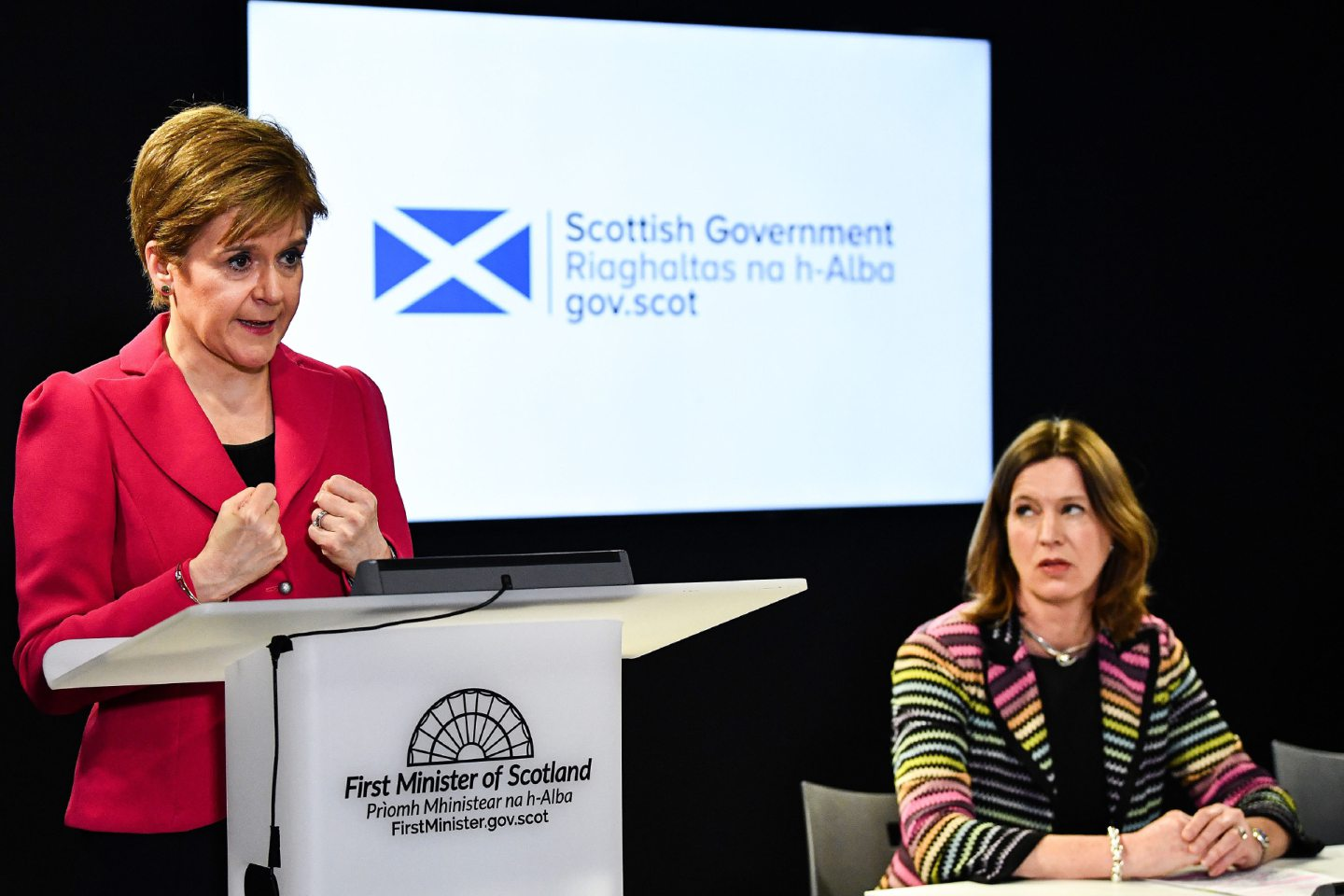 Scotland's First Minister Nicola Sturgeon (left) with Chief Medical Officer Dr Catherine Calderwood at a news conference in Edinburgh after the latest COBRA meeting to discuss the government's response to coronavirus crisis. PA Photo. Picture date: Thursday March 12, 2020. See PA story HEALTH Coronavirus. Photo credit should read: Jeff J Mitchell/PA Wire