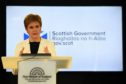 Scotland's First Minister Nicola Sturgeon holds a briefing on the novel coronavirus COVID-19 outbreak in Edinburgh.