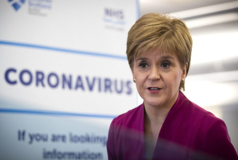 First Minister Nicola Sturgeon speaking during a visit to the NHS 24 contact centre at the Golden Jubilee National Hospital in Glasgow to meet staff supporting Scotland's public information response to coronavirus (COVID-19).