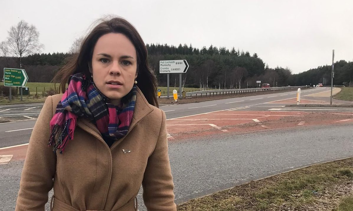 Kate Forbes MSP at the notorious Munlochy junction