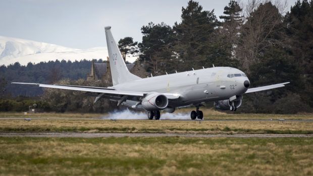 The City of Elgin P-8A Poseidon arriving at Kinloss Barracks.