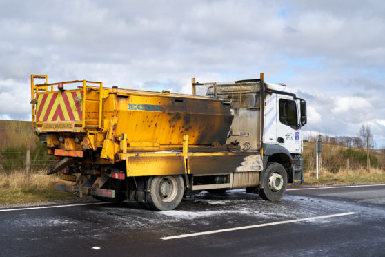 20 March 2020. A95, Keith to Mulben Road, Moray, Scotland, UK. This is the Bear Scotland Truck that took fire on the above road. The Road was initiall blocked whilst SFRS at Scene