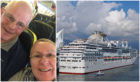 Martin Hicks and Amanda Hollick, left, and the Coral Princess cruise ship