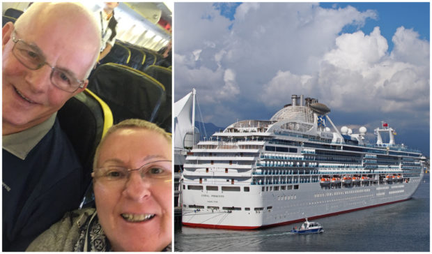 Martin Hicks and Amanda Hollick, left, and the Coral Princess cruise ship