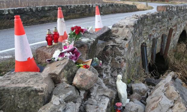 The scene following the fatal crash on the B9161 near Munlochy.