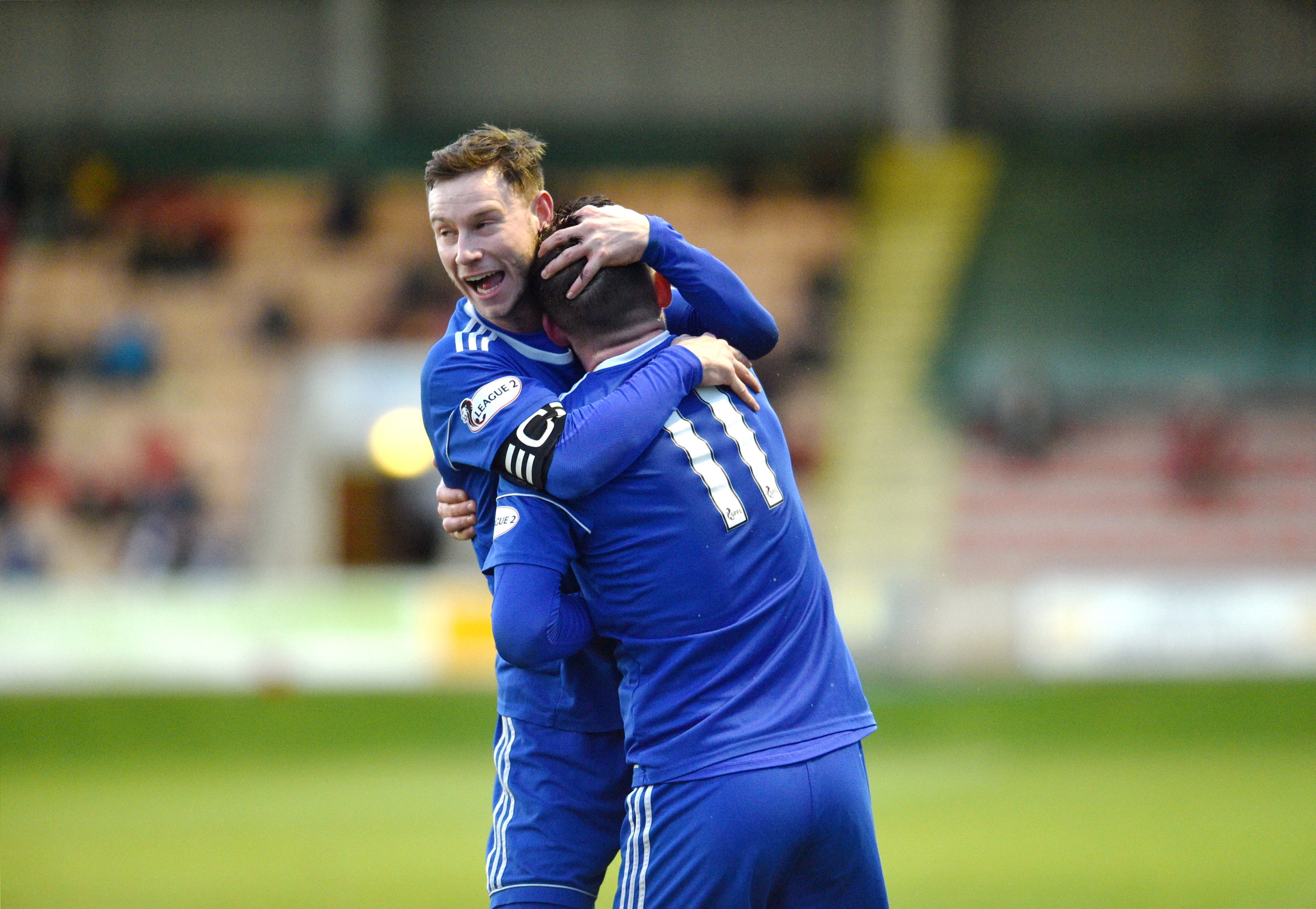 Cove's Jamie Masson celebrating with Mitch Megginson.  Picture by Darrell Benns
