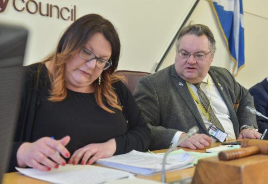 Moray Council's SNP co-leaders Shona Morrison and Graham Leadbitter.