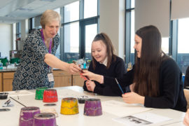 Elgin High School hosts a masterpieces in schools event which will artist Mary Bourne captures the imagination of S3 students by bringing world class art into the classroom. Pictured: Mary Bourne teaches Katier Mighten and Skye Murray