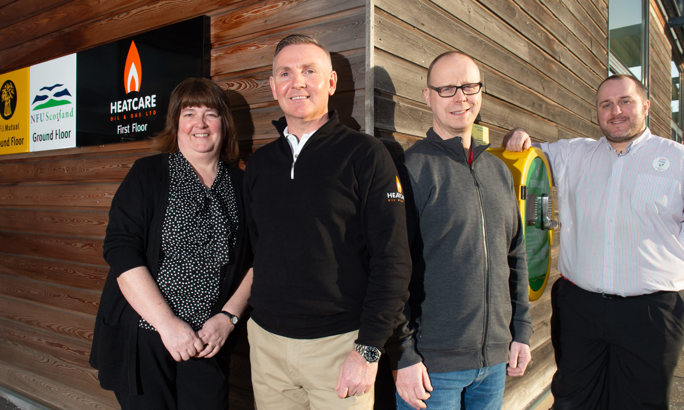 Pictured: Susan Hutcheon from Keith Community Council, Calum McCombie from Heatcare Oil and Gas Ltd, Dave Chapman from Moray Defibs and Grant Henderson from Tesco. Picture by Jason Hedges.