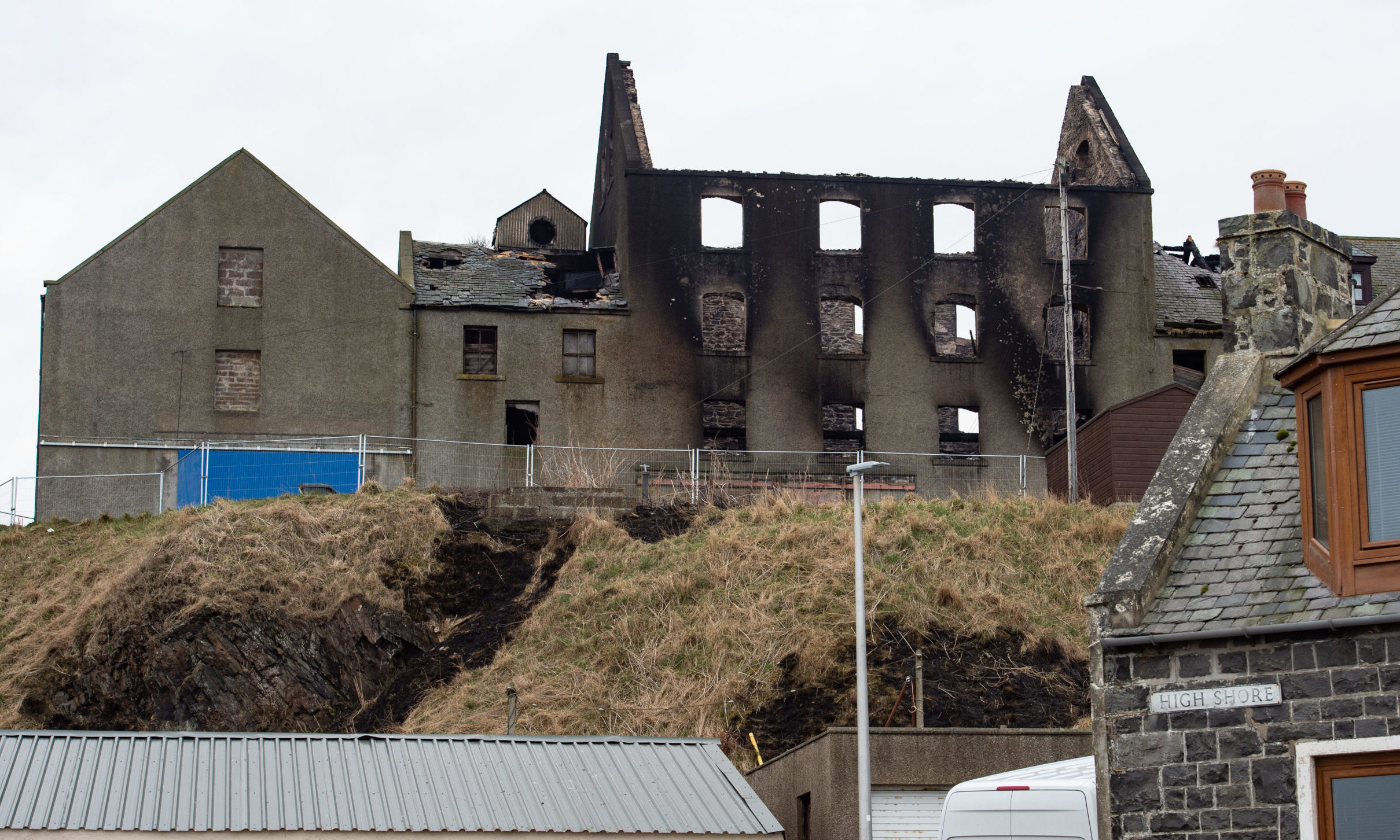 The Commercial Street building in Macduff destroyed by fire.