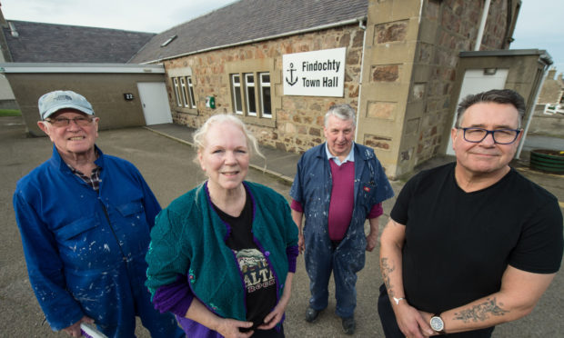Pictured L2R: Jim Baird (volunteer) Pam Ross (secretary & trustee) Sandy Innes (trustee) Graham Cryer (chairman & trustee) all from the registered Charity Findochty Town Hall. Picture by Jason Hedges.