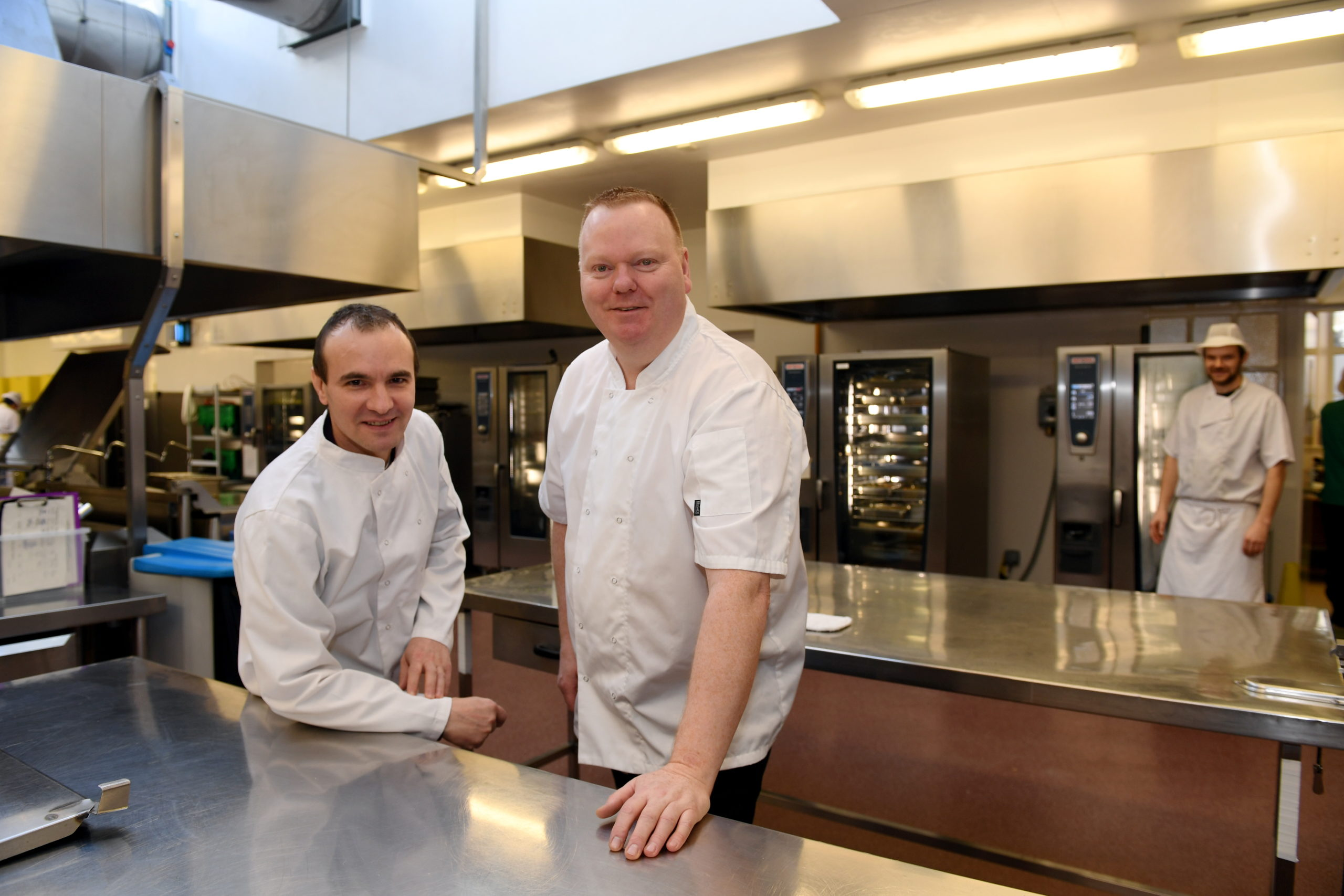 CR0020121 Two chefs from NHS Grampian, ARI are off to London to compete in a competition, the Salon Culinaire, the only scottish entrants in their category.     Pictured - Chefs Robert Salomia (left) and Chris McGuile at the ARI kitchen.     Picture by Kami Thomson         -2020