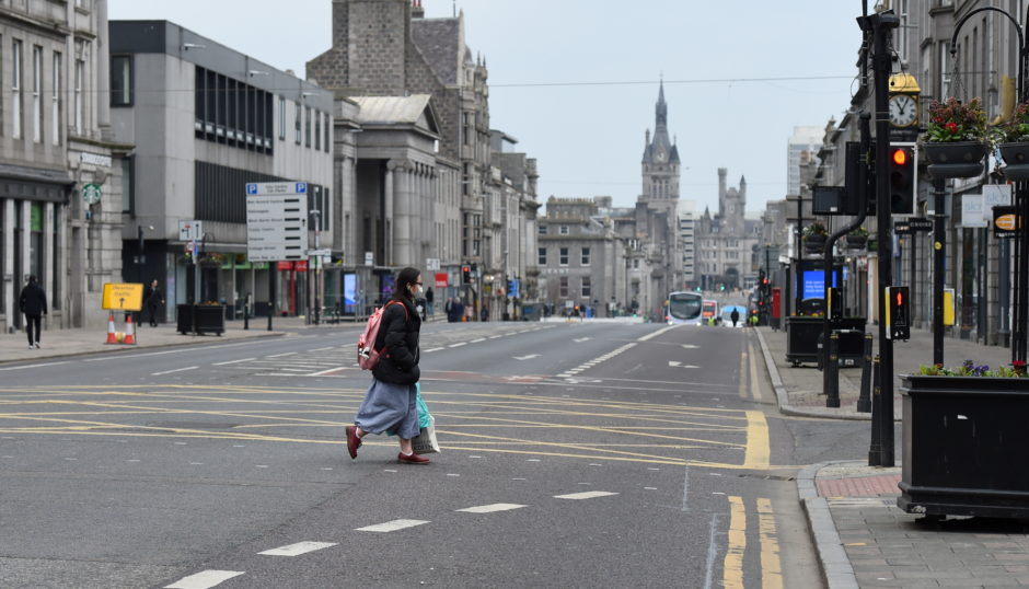 Union Street in Aberdeen was deserted.