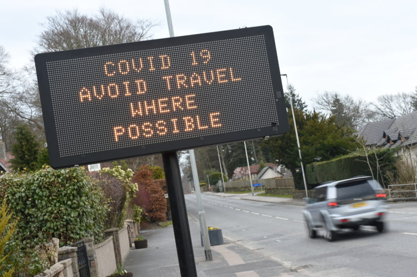Signs advised against travel across the north-east.