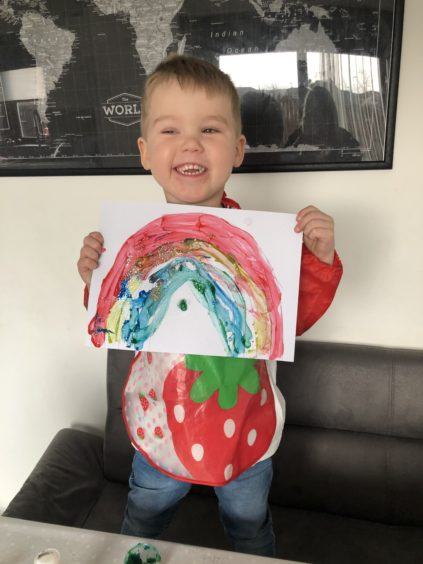 The artist: Joel Hogarth, age 4, from Peterhead