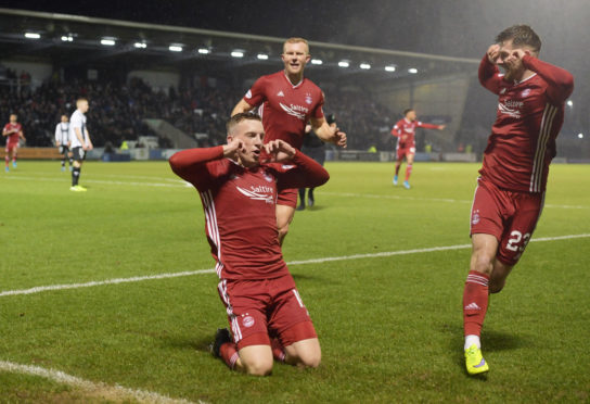 Lewis Ferguson celebrates after he makes it 1-0 to Aberdeen against St Mirren.